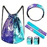 FEPITO 6 PCS Pailletten Meerjungfrau Set Kordelzug Pailletten Rucksack Tasche mit Slap Armbänder und Stirnband, Pailletten Reversible Glitter Wandern Sporttasche für Geburtstagsgeschenk Party Favors