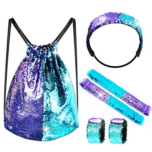 FEPITO 6 PCS Set di sirena con paillettes con paillettes a sirena con coulisse e bracciali e fascia (Blue Purple)