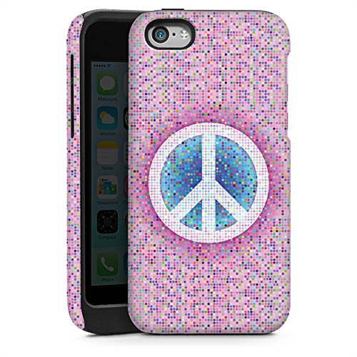 Apple iPhone 5s Housse Étui Protection Coque Peace Hippie paix couleurs Cas Tough brillant