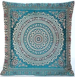 Turquoise t rkis indische seide deko kissenbez ge 40 cm for Indische zimmer deko