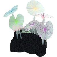 Emily Pets Luminous Artificial Fake Lotus Aquarium Artificial Silicon Fish Tank Decoration Ornament (Multicolour,Pack of…