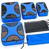 WUNDERPACK Packtaschen 4er-Set - top verarbeitete Packing Cubes in dunkelblau & türkis | 4 Packwürfel für mehr Übersicht und Platz inkl. Kleidertasche ideal für Rucksack-Trips, Geschäftsreisen und Url