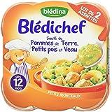 Blédina Blédichef Assiette Sauté de pommes de terre, petits pois et veau dès 12 mois 2x230g - lot de 4 (8 barquettes)