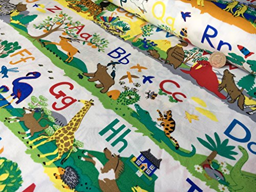 ABC Alphabet Kinder Kindergarten Zoo/Jungle Safari Tiere Print 100% Baumwolle Educational Vorhang, Polster Stoff Meterware 147,3 cm breit Schneidern für Kinder Alphabet Vorhänge