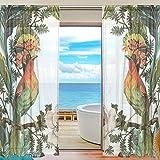 FFY Go ffy 'Sheer Voile-Vorhang mit Vogel, mit weichem Material für Wohnzimmer Schlafzimmer Küche Tür-Dekoration 2: 78x 55cm