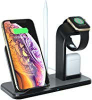 4 In 1 Wireless Charger Stand For Apple Watch AirPods Apple Pencil Cell Phone, Layopo 10W Wireless Charging Station, Compatib