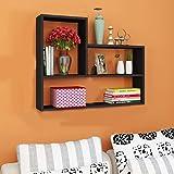 SKAFA Wall Mounted Engineered Wood Display Shelf Rack for Home Decor, Kitchen Storage (Brown, Black)