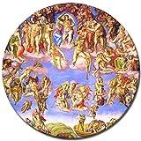 Bilderdepot24 Kunstdruck - Alte Meister - Michelangelo - Jüngstes Gericht II - Rund - 40 cm - Leinwandbilder - Bilder als Leinwanddruck - Bild auf Leinwand - Wandbild