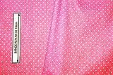 Stoff Popeline Baumwolle, rosa mit weißen Punkten (ein