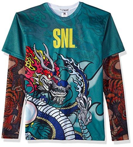 FauxReal Herren T-Shirt SNL Stefon Tattoo - Grün - - Saturday Night Live Kostüm