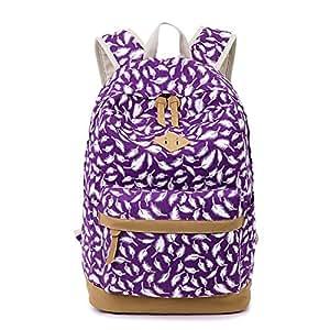 Niedliche Feder Mode gedruckt Casual Canvas Laptop Tasche Schule Rucksack leichte Rucksäcke für Teen junge Mädchen