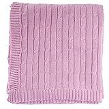 Homescapes kuschelweiche Heimdecke rosa mit Zopfmuster 150 x 200 cm 100% Reine Baumwolle Sofaüberwurf Wohndecke