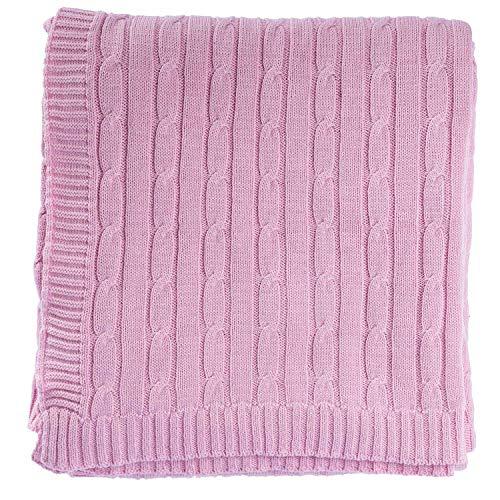 Homescapes kuschelweiche Heimdecke rosa mit Zopfmuster 170 x 130 cm 100% Reine Baumwolle S
