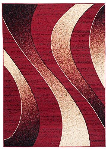 Tapiso Designer Teppich Wohnzimmer Teppich SCHÖN Muster IN ROT BEIGE (130x190 cm)