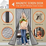 LJNH Magnetic Screen Door with Heavy Duty Mesh Curtain and Full Frame Velcro