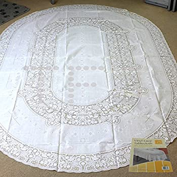 Vinyl Tablecloth   No Iron Required  Different Shape And Size (150 X 225 CM  OVAL, Lace)