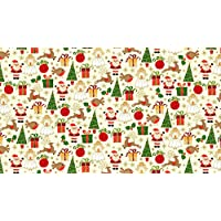 Fat Quarter Metallic Christmas Icons Cotton Quilting Fabric Makower 4 15091