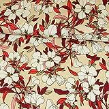 Viskosejersey Magnolien Blumen beige Modestoffe Damenstoffe