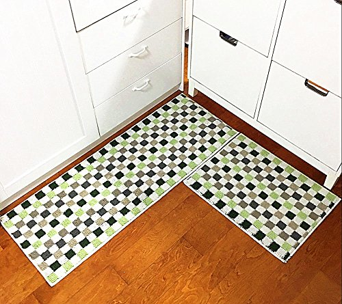 "Eanpet Kitchen Rugs Sets 2 Piece Kitchen Floor Mats Non-Slip Rubber Backing Outdoor Doormat Clearance Runner Rug Pad Area Rug Sets Home Decor Carpet Anti Fatigue Kitchen Mat Sets- 20""x 31"" + 20""x 59"", Green Mosaic"