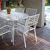 Lazy Susan - June 150 x 95 cm Ovaler Gartentisch mit 6 Stühlen - Gartenmöbel Set aus Metall, Weiß (Jane Stühle)