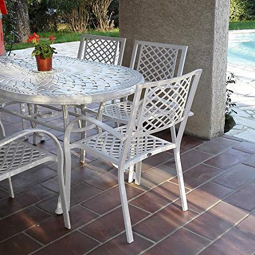 Lazy Susan - June 150 x 95 cm Ovaler Gartentisch mit 6 Stühlen - Gartenmöbel Set aus Metall, Weiß (Jane Stühle) (Für 6 Ovaler Esstisch-set)