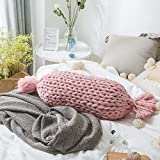 TwinkBling hand-woven Deko-Kissen, Hintergrund Fotografie Requisiten Sofa mit Kissen Runde Kissen Home Dekoration, acryl, Candy Shape_pink, 40cm/15.7in