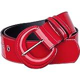 KYEYGWO Cinturón de piel sintética para mujer con anillas en D, hebilla ajustable, cinturón ancho clásico para vestidos, cami