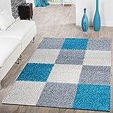 Alformbra moderna de pelo Shaggy con patrón de cuadros, polipropileno, turquesa, 140 x 200 cm