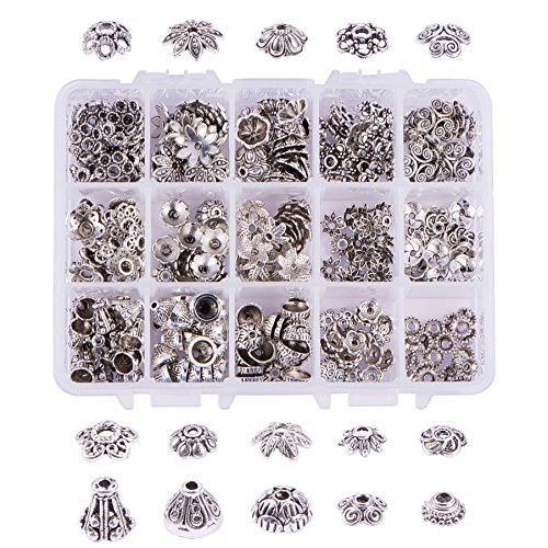 PandaHall Elite 280pcs tibetischen Stil Zinklegierung Bead Cones, Antik Silber