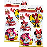 TE-Trend 2 Stück Disney 3D Poster Disney Minni Maus Wandtattoo 6 Stück Wandsticker Wandbilder Mädchen Kinderzimmer Deko Mehrfarbig
