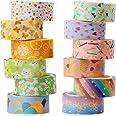 Washi Tape, 12 rollen Washi Tape Set Decoratieve Washi Tape Leuke Gouden Folie Bloem Decoratieve Masking Tape voor DIY Kunst