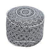 The Art Box 'Kunstdruck: Grau Ombre Mandala, osmanischen Pouf, Ethnischer Indischer Sitzfläche Fußhocker, 100% Baumwolle