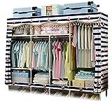 XIAONUA Kleiderkammer-Speicher-Organisator, Tragbare Wandschrankregale, Stoff-Garderobenschränke für Schlafzimmer, Handelsklasse rostfrei,A_82.6x18.1x66.9 in