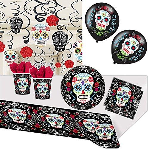 CARPETA/Amscan 96-teiliges Partyset * Day of Dead * für Halloween, Geburtstag und Mottoparty // mit Teller + Becher + Servietten + Tischdecke + Swirl Deko + Luftballons + Luftschlangen