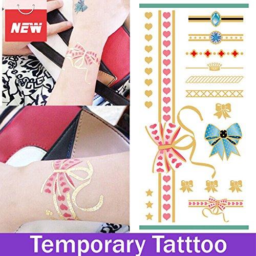 oxgrow (TM) 1 feuille Bow Sangle Flash Tatouage Feuille Métallique Color Tattoo tatouages temporaire étanche tatouages tattoo Sticker Autocollant 3D Motif Sex produits