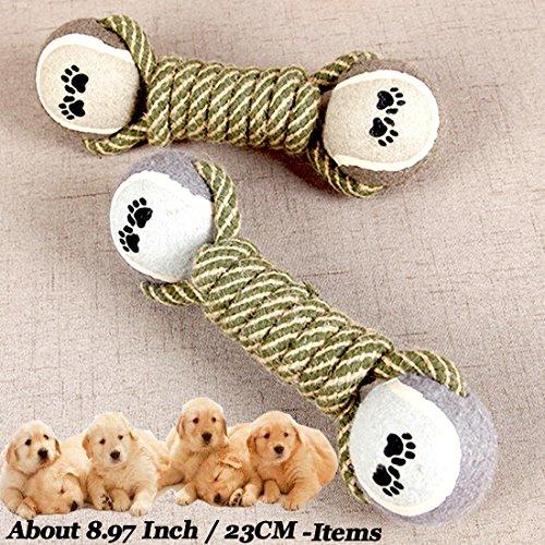 Haustiere Hund Katze Hantel Toys doppelt Tennis Baumwolle Seil Backenzähne Bite Kauen Interaktives Produkte (1Stück) -