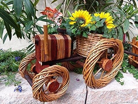Traktor mit Korb, 38 cm, aus Korbgeflecht,