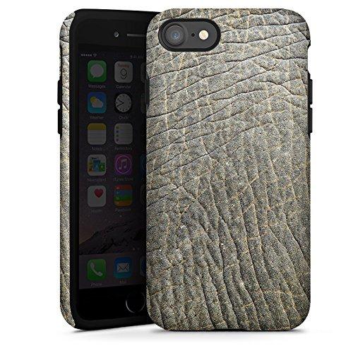Apple iPhone X Silikon Hülle Case Schutzhülle Elefantenhaut Look Tierhaut Muster Struktur Tough Case glänzend
