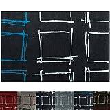 Design Teppich Square | moderner Wohnzimmerteppich mit Trend Karo Muster | in 2 Größen und vielen Farben für Wohnzimmer, Esszimmer, Schlafzimmer etc. | dunkelbraun / blau 160x220 cm