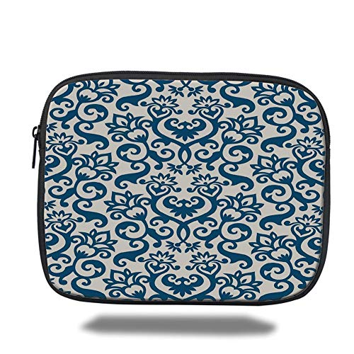 Laptop Sleeve Case,Abstract,Ornamental Floral Pattern Antique Damask Flowers Curvy Repeating Tile Artsy Design,Blue White,Tablet Bag for Ipad air 2/3/4/mini 9.7 inch - Ultra White Tile