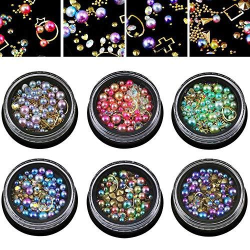 TOOGOO 6 Roues Mixte Art D'Ongle Strass Diamants Cristaux Perles Gemmes Pour Décoration Diy (03#)