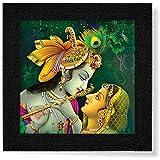 SAF Radha Krishna UV Coated Home Decorative Gift Item Framed Painting 12 inch X 12 inch