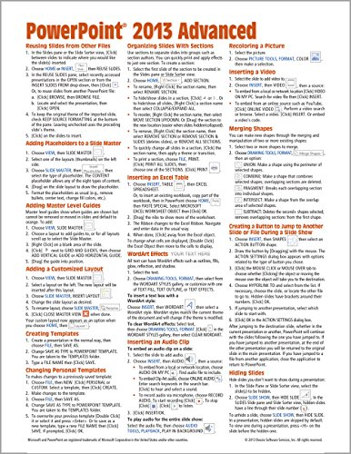 Microsoft PowerPoint 2013 Advanced Quick Reference Guide (Cheat Sheet of Instructions, Tips & Shortcuts - Laminated Card)