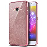 Paillette Coque Housse Etui pour Galaxy J5 2015, Galaxy J5 2015 Coque en Silicone Glitter Placage Bling Housse Etui Gel Slim Case Soft Gel Cover, Ukayfe Or Rose Coque Etui de Protection Cas en caoutchouc en Ultra Slim Souple Cristal Gel TPU Bumper Bling Bling Brillant Scintillant Cristal Glitter Diamant Strass Coque Housse Cas Case Cover Couverture Etui pour Samsung Galaxy J5 2015 J500
