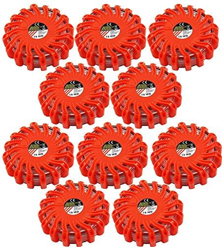 My-goodbuy24 10er Set LED Notfall Warnleuchte mit Magnet Warnlicht Notfallset Leuchte 360° Rot Warnblickleuchte SOS Blitzlicht Batteriebetrieben Pannenset