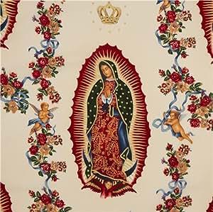 Tissu Alexander Henry écru avec la Vierge Marie et des anges