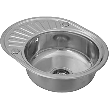 ENKI Compact Single 1.0 Bowl Inset Round Stainless Steel Kitchen ...