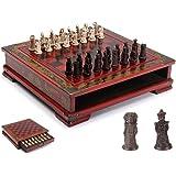 GYFHMY Terrakotta Warriors Style Schack med bräda, handgjorda internationella schacker, hopfällbar förvaring retro set, klass