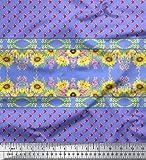 Soimoi Blau Baumwolle Batist Stoff Sonnenblume & clarkia