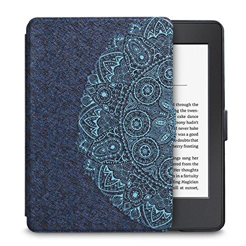 WALNEW Amazon Kindle Paperwhite Hülle, Leichteste und Dünnste Hochwertige Lederhülle für Kindle Paperwhite mit Automatischer Aufwach/Ruhe-Funktion,Blaue Blume